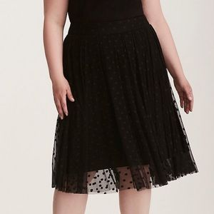 Torrid skirt polka dot tulle black plus 3